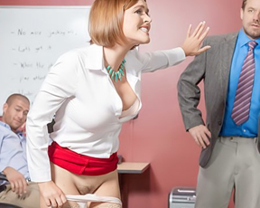 Excited girl serves co-worker's naked cock after boss makes her observation