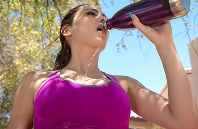 After jogging girl needs some water and naked cock in tight pussy
