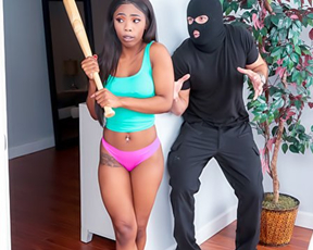 Robber in mask catches Ebony girl and treats pussy with naked dick
