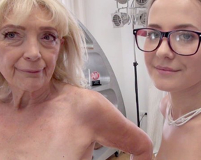 Nerdy girl with cute face and old woman act in naked porn video