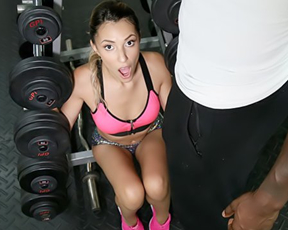 Black fitness instructor fools around with naked girl to burn calories