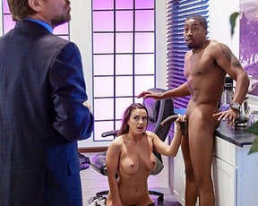 Ebony worker drills and satisfies naked girl till they are caught by boss