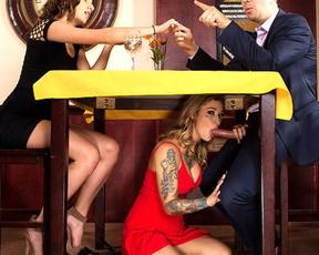 Naughty girl not afraid to gag on naked manhood right in restaurant