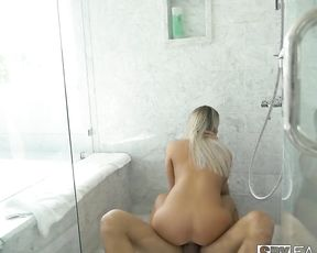 Enticing girl and her stepbrother entwine naked bodies in the shower