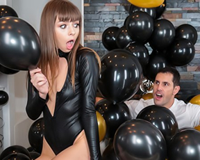 Pretty girl surprised by guy who jumps out of balloons to fuck naked twat