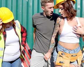 Occasional passer picked up by busty builder girl to have naked sex