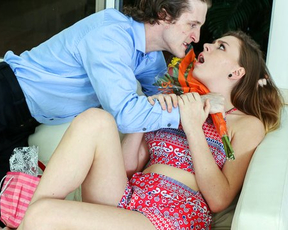 Boyfriend fulfills birthday girl's desire and fucks naked pussy hard