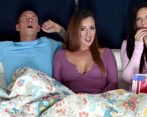 Girl interrupts watching movie to have sex with naked BF and stepmom
