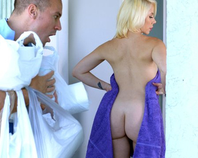 Blonde girl with amazing naked body rewards delivery guy for help