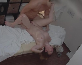 Oiled up and naked girl agrees to have fuck with handsome masseur