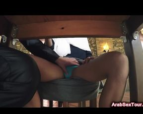 Excited white stranger drills naked Arab girl on chair from behind