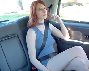 Taxi driver does everything to taste naked pussy of red-haired girl