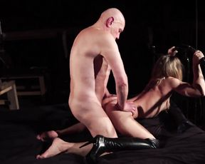 Old gentleman makes love with young naked girl in romantic environment