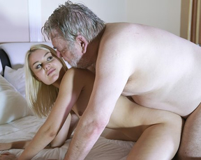 Twosome banging with old fucker gives naked girl new forbidden feelings