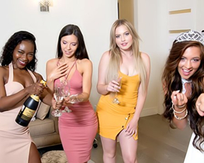 Naked girlfriends have group coition with man at bachelorette party