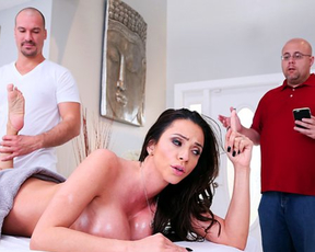 Woman had never seen such a pleasure on naked masseur's face as while fucking