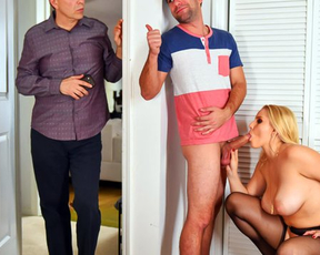 Almost naked blonde girl revenges on her hubby by seducing stepson