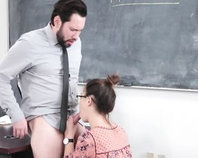 Teacher can't say no to naughty girl who wants to be nailed naked in class