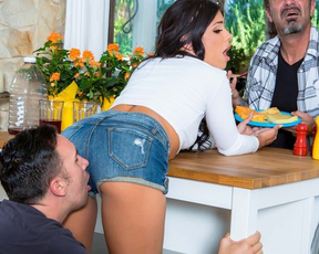Man entices naked cutie with nice face into bonking behind the back of husband