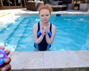 Naked ginger young woman is always ready to satisfy lecherous man by pool