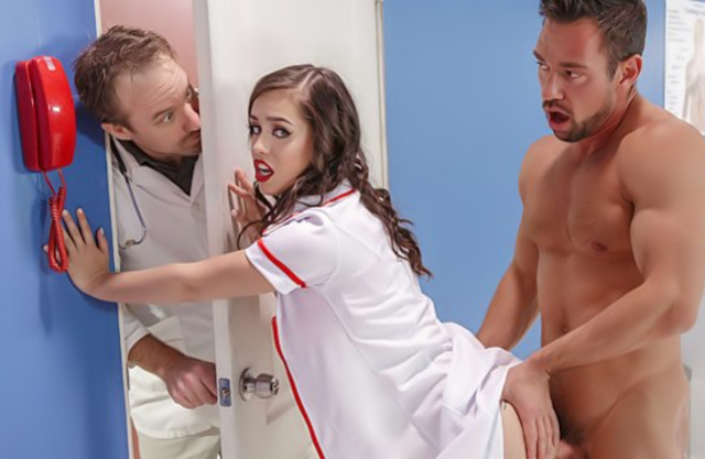 Patient's naked torso turns Latina nurse on and she craves for his dick