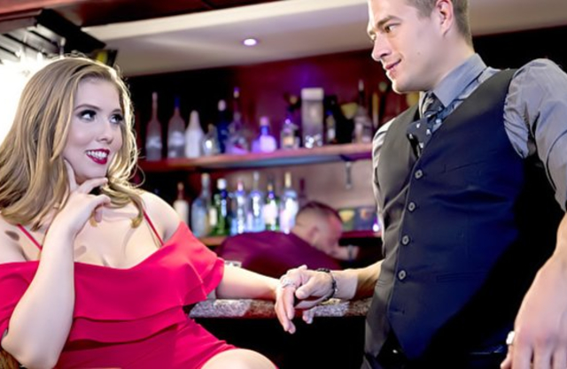 Lonely girl meets handsome guy in bar and brings him home for naked fuck