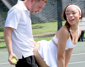 Latina chick with headband wants to stop playing tennis in favor of naked fuck