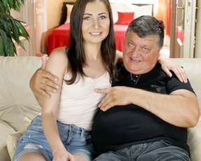 Joyful babe satisfies every naked sex order of her old and fat lover