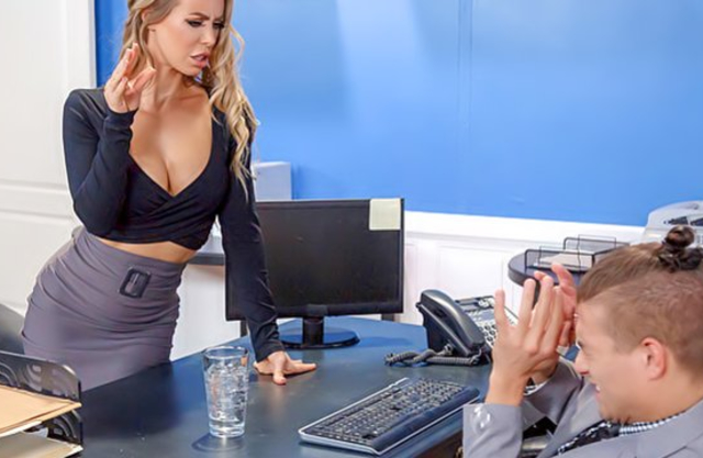 Busty secretary sneaks in boss' office for dose of fresh naked fuck