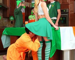 On St.Patrick's Day tricky fellow secretly fucks naked stepsister