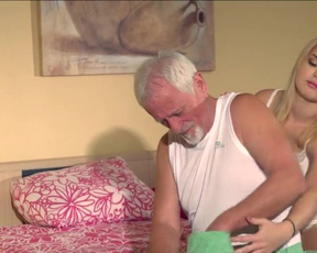 Old man acquaints naked blonde sweetheart with world of amazing sex