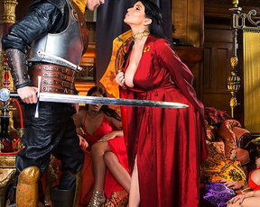 Smoking-hot queen shares knight's naked sword with rival princess
