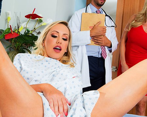 Doctor teams up with blonde MILF to cure her naked and horny mistress