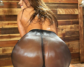 Aroused slut with round butt in pantyhose ready for hard naked drilling