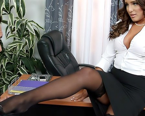 Boss punishes secretary with his big cock for naked behavior in office