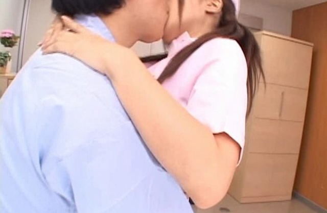 Japanese nurse with small breasts makes patient happy by naked sex