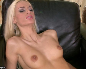 Naked blonde in black panties is a slut who wants to suck man's cock