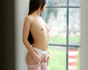 Sensuous skinny female is naked and ready to be bonked by new admirer