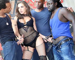 Girl likes black men's cocks to suck and fuck at so-called naked gangbang