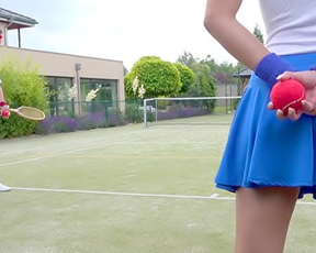 Tennis player thinks girl is naked whore and fucks her together with friend