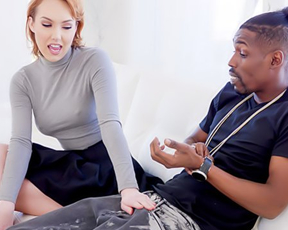 Pale-skinned bitch with red hair fucked by naked black guy with big cock