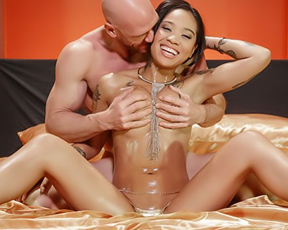 Naked Asian bitch with oiled body will be satisfied thanks to bald man