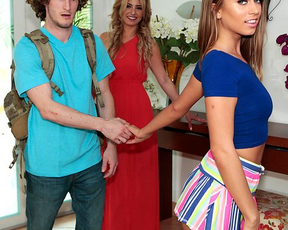 Nerdy stud takes part in threesome with naked classmate and her stepmom