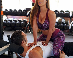 Curvy MILF instead training has sex with naked stepson in empty gym