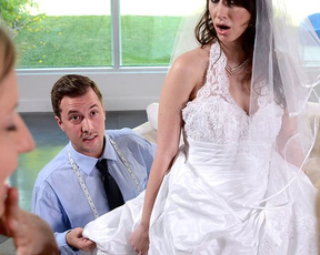 Bride in stockings seduces salesman for last naked fuck before ceremony