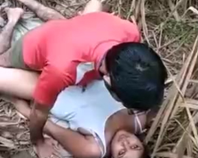 Latin man penetrates naked pussy of prostitute who lies among bamboo