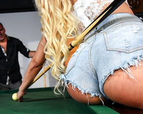 Latina waitress is fucked in naked pussy by big cock on pool table