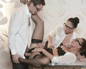These two smoking hot office sluts know how to make their boss relax