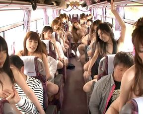 Bus loaded full with naked Asian girls yearning hard cocks and hardcore fucks