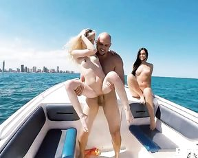 Four hot naked girls get fucked by the captain on a yacht trip